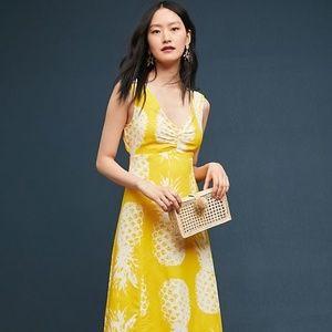 Anthropologie Pineapple Midi Dress new